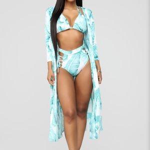 Tropical Ting Sunsuit Set - Blue/Combo
